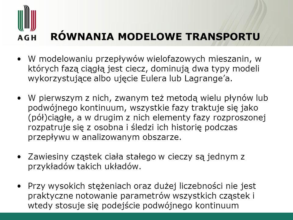 RÓWNANIA MODELOWE TRANSPORTU