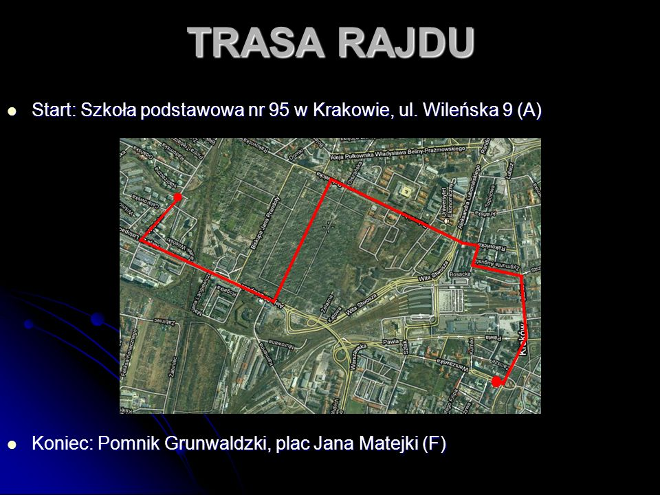 TRASA RAJDU Start: Szkoła podstawowa nr 95 w Krakowie, ul.