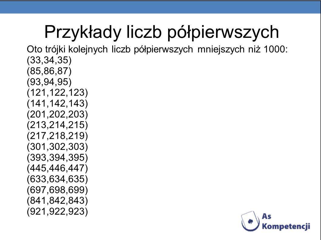 Przykłady liczb półpierwszych