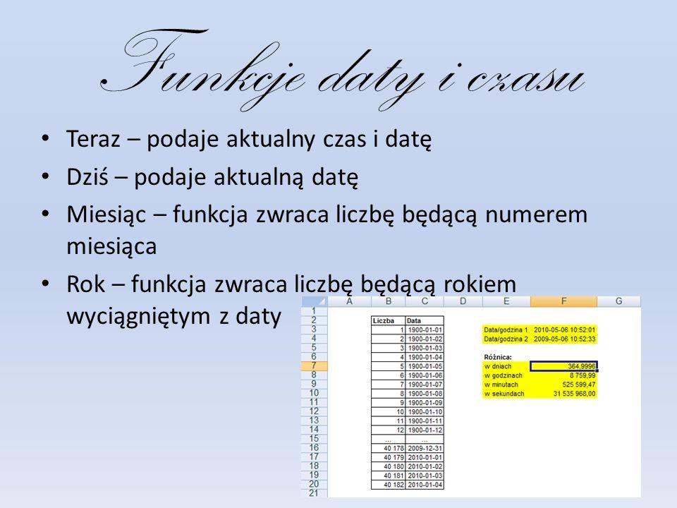 Funkcje daty i czasu Teraz – podaje aktualny czas i datę