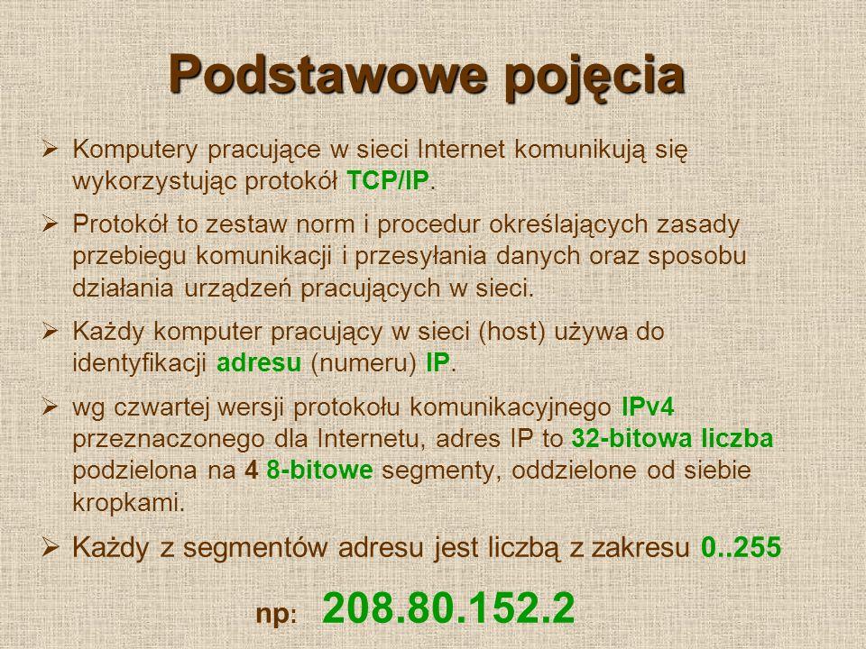 Podstawowe pojęcia Komputery pracujące w sieci Internet komunikują się wykorzystując protokół TCP/IP.