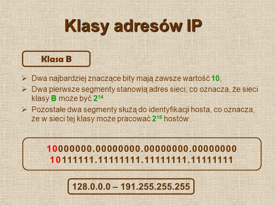 Klasy adresów IP Klasa B 10000000.00000000.00000000.00000000