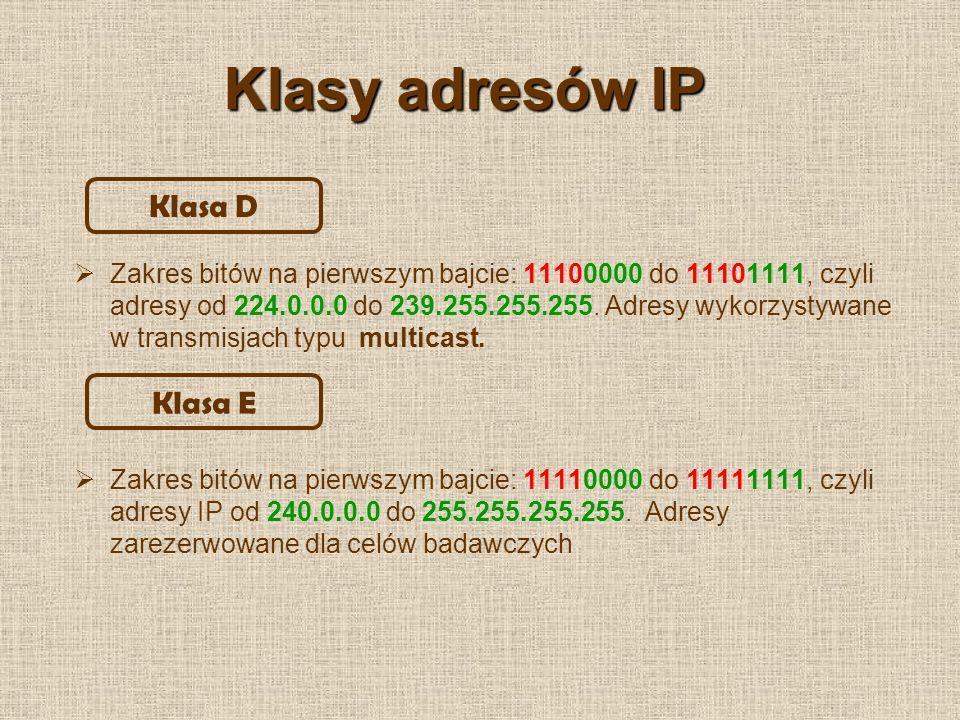 Klasy adresów IP Klasa D Klasa E