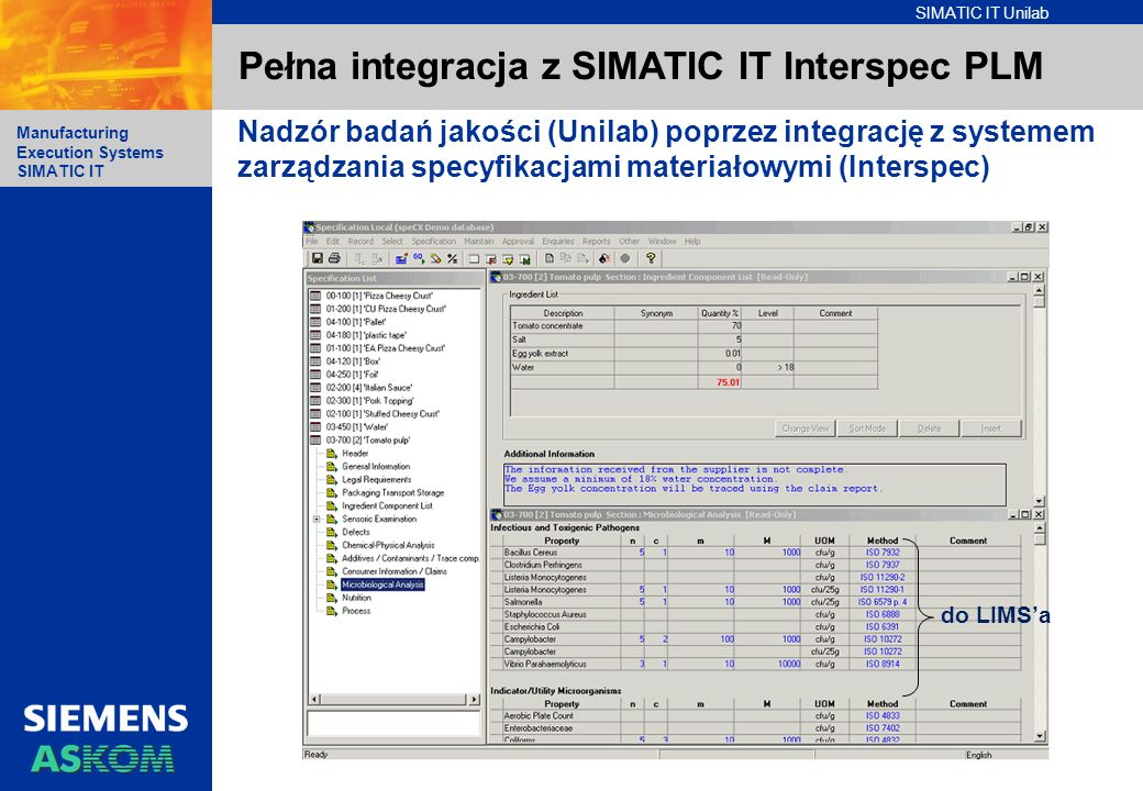 Pełna integracja z SIMATIC IT Interspec PLM