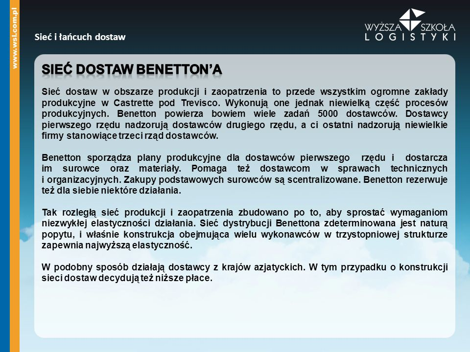 Sieć dostaw Benetton'a