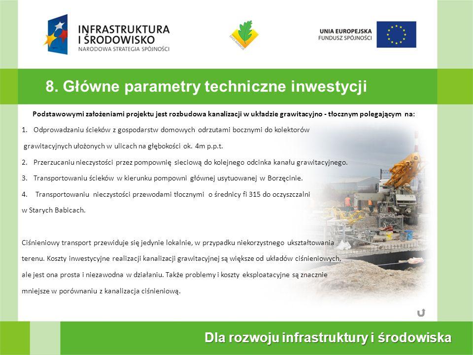 8. Główne parametry techniczne inwestycji