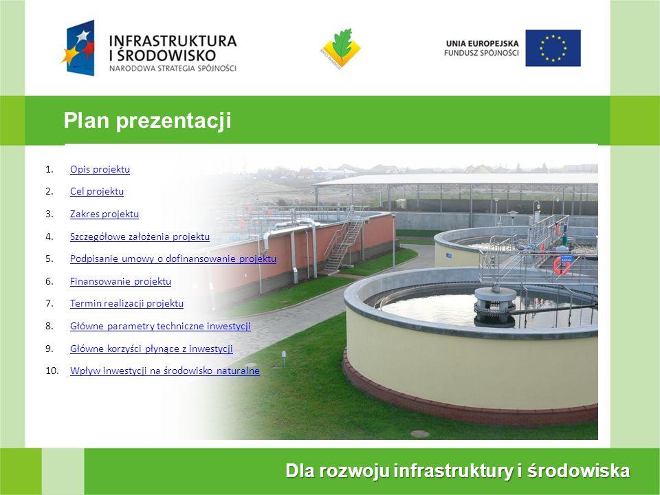 Plan prezentacji Dla rozwoju infrastruktury i środowiska Opis projektu