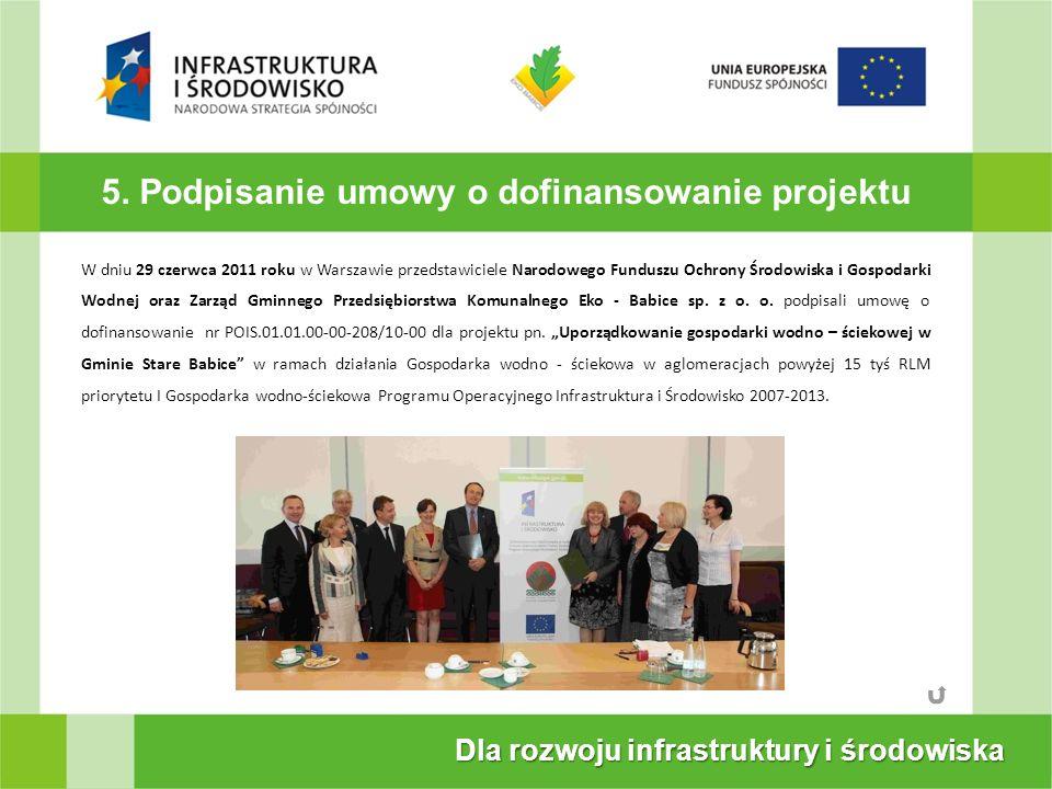5. Podpisanie umowy o dofinansowanie projektu