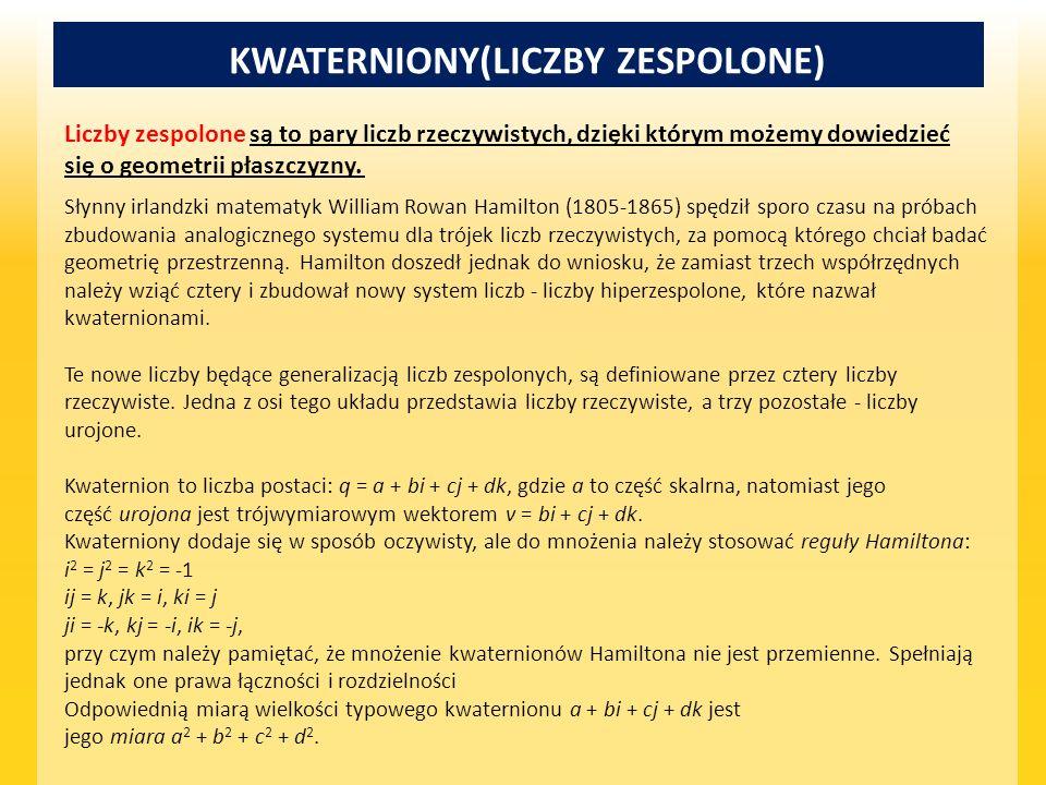 KWATERNIONY(LICZBY ZESPOLONE)