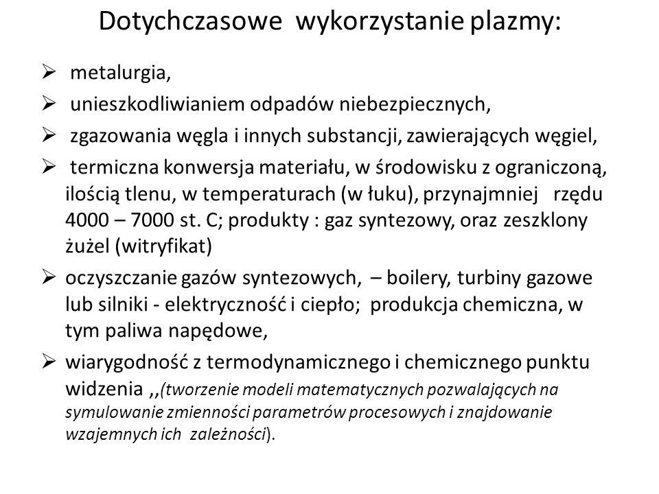 Dotychczasowe wykorzystanie plazmy: