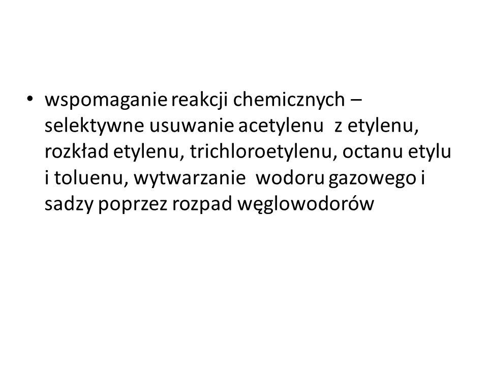 wspomaganie reakcji chemicznych – selektywne usuwanie acetylenu z etylenu, rozkład etylenu, trichloroetylenu, octanu etylu i toluenu, wytwarzanie wodoru gazowego i sadzy poprzez rozpad węglowodorów