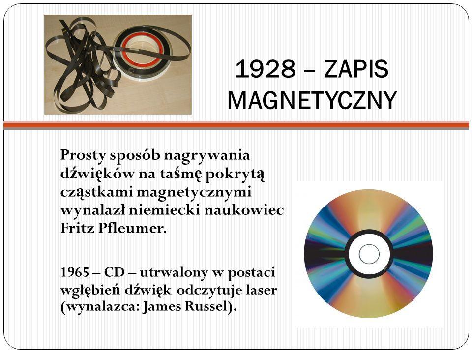 1928 – ZAPIS MAGNETYCZNY Prosty sposób nagrywania dźwięków na taśmę pokrytą cząstkami magnetycznymi wynalazł niemiecki naukowiec Fritz Pfleumer.