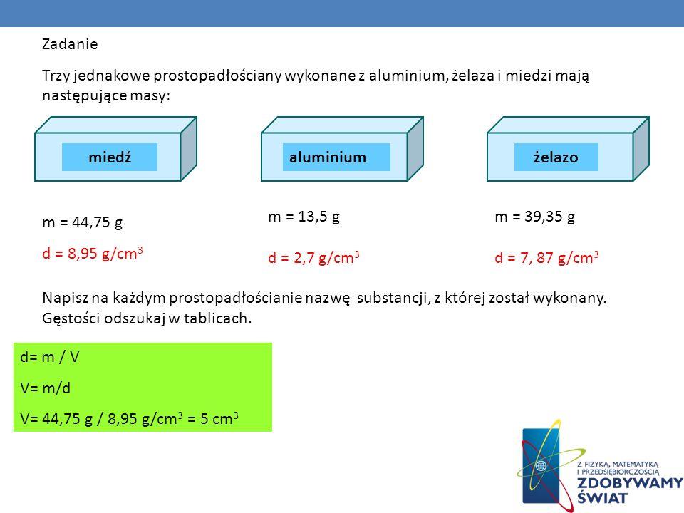 Zadanie Trzy jednakowe prostopadłościany wykonane z aluminium, żelaza i miedzi mają następujące masy: