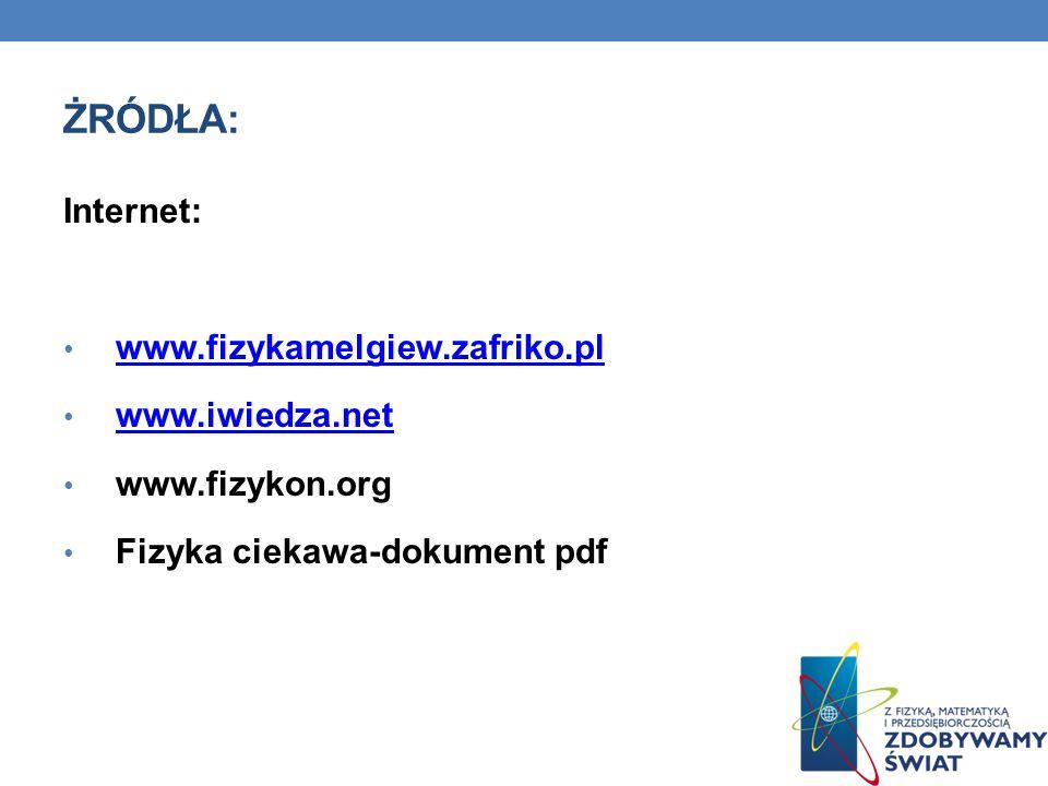 Żródła: Internet: www.fizykamelgiew.zafriko.pl www.iwiedza.net