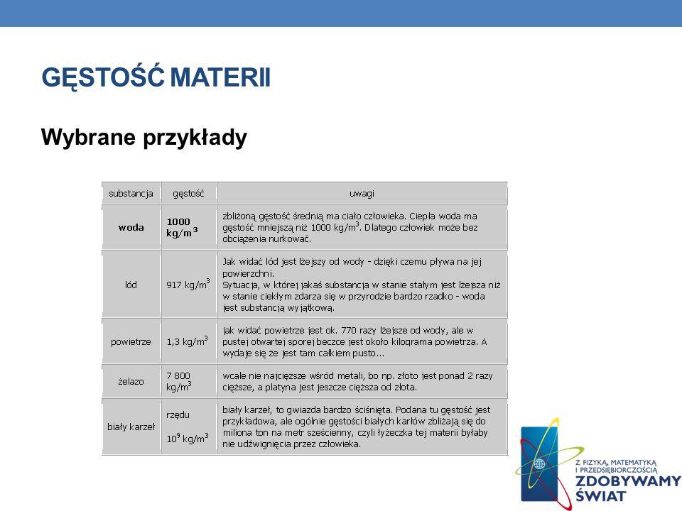 Gęstość materii Wybrane przykłady