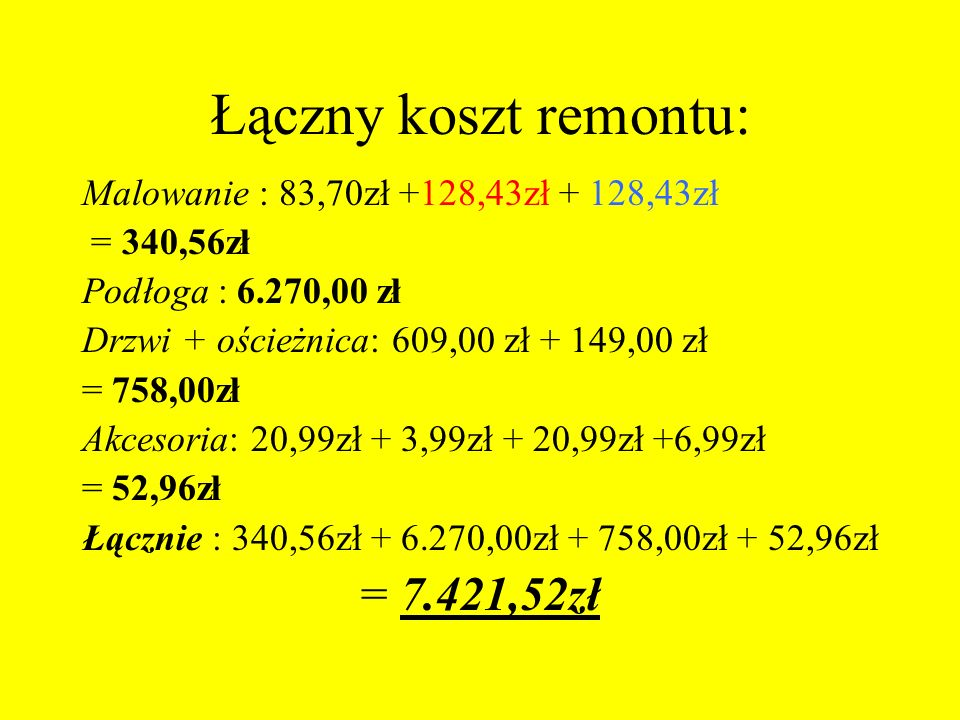Łączny koszt remontu: = 7.421,52zł