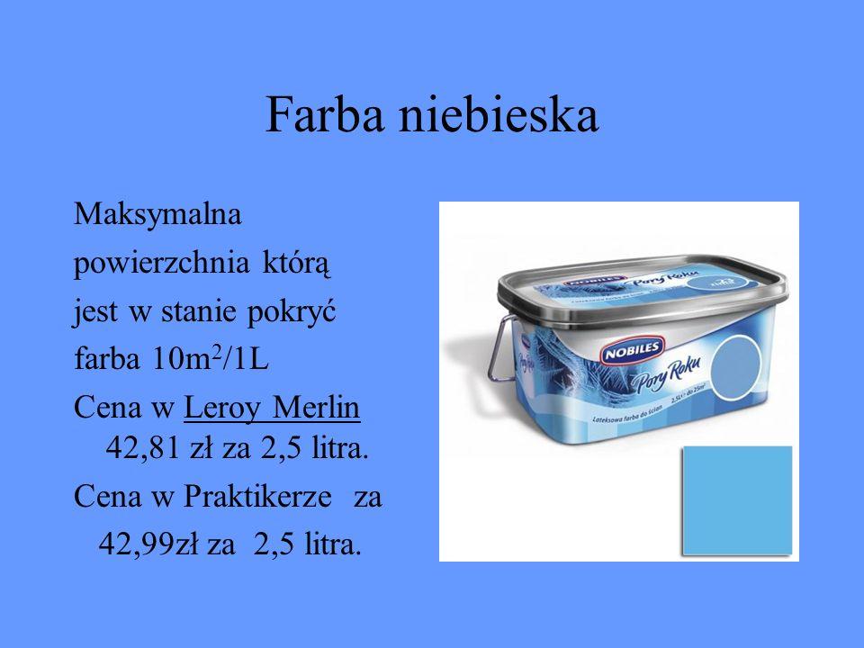 Farba niebieska Maksymalna powierzchnia którą jest w stanie pokryć