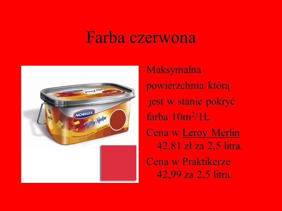 Farba czerwona Maksymalna powierzchnia którą jest w stanie pokryć