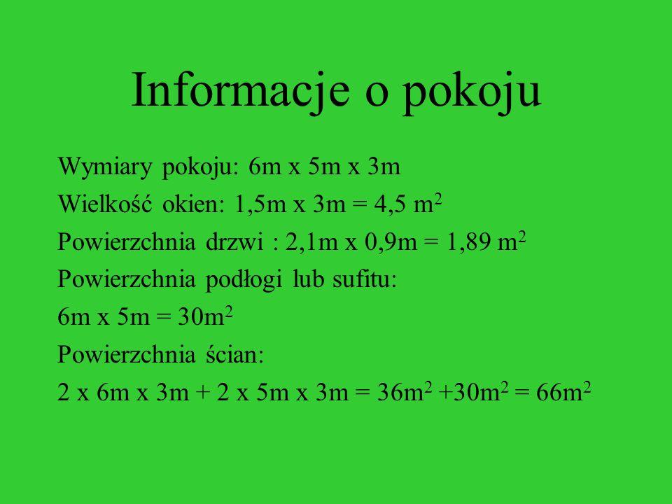 Informacje o pokoju Wymiary pokoju: 6m x 5m x 3m