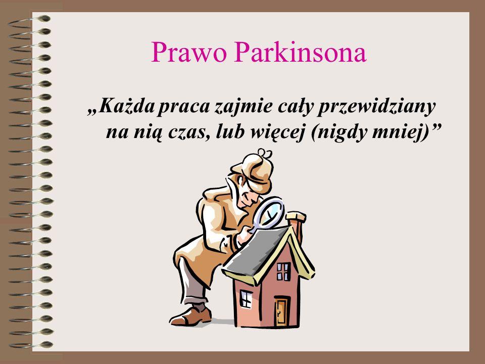 """Prawo Parkinsona """"Każda praca zajmie cały przewidziany na nią czas, lub więcej (nigdy mniej)"""
