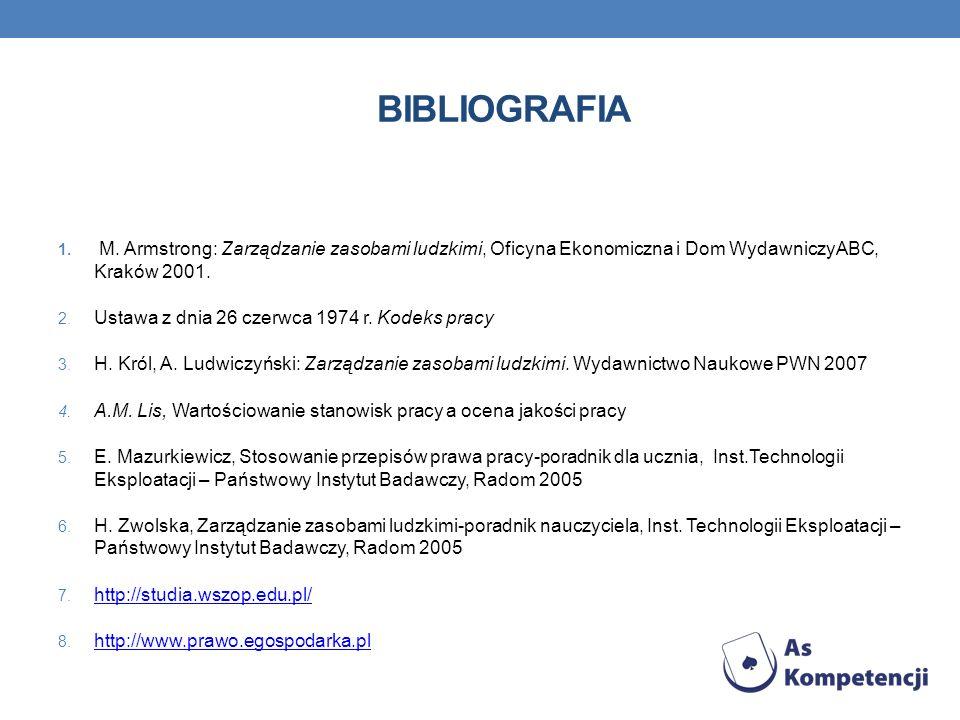 BIBLIOGRAFIA M. Armstrong: Zarządzanie zasobami ludzkimi, Oficyna Ekonomiczna i Dom WydawniczyABC, Kraków 2001.