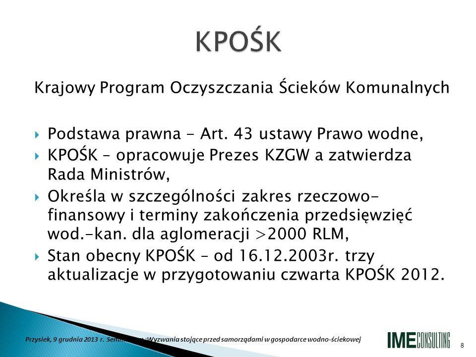 KPOŚK Krajowy Program Oczyszczania Ścieków Komunalnych