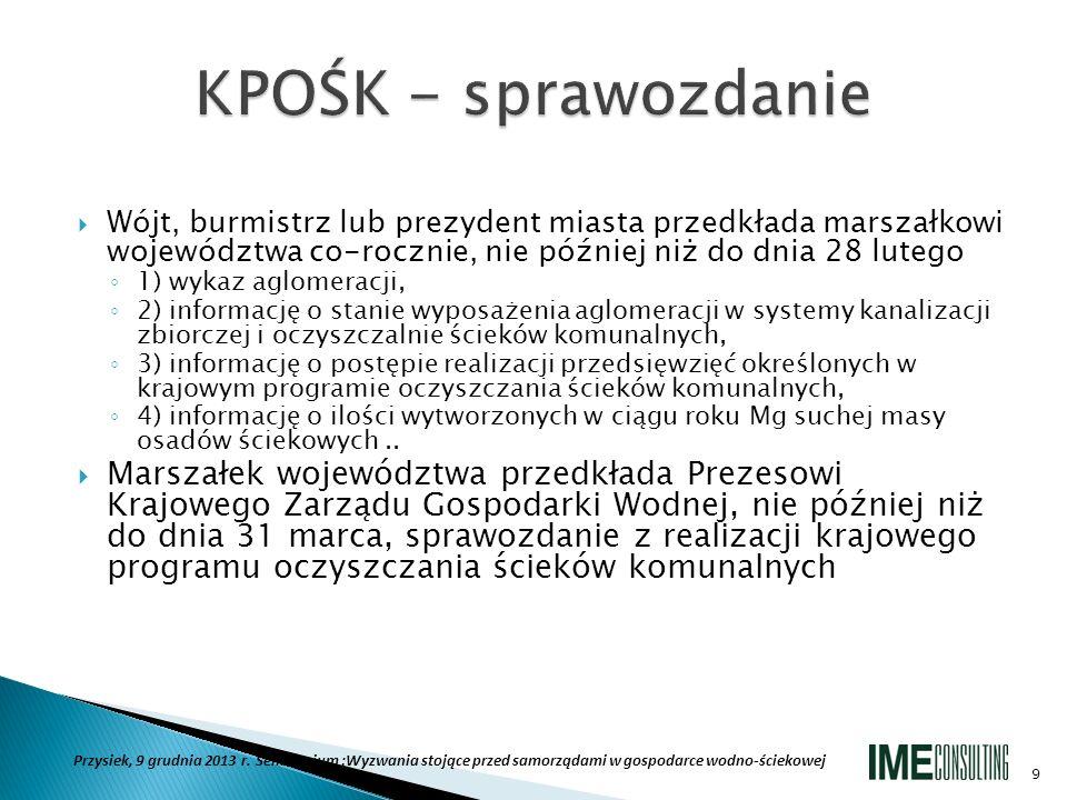 KPOŚK - sprawozdanie Wójt, burmistrz lub prezydent miasta przedkłada marszałkowi województwa co-rocznie, nie później niż do dnia 28 lutego.