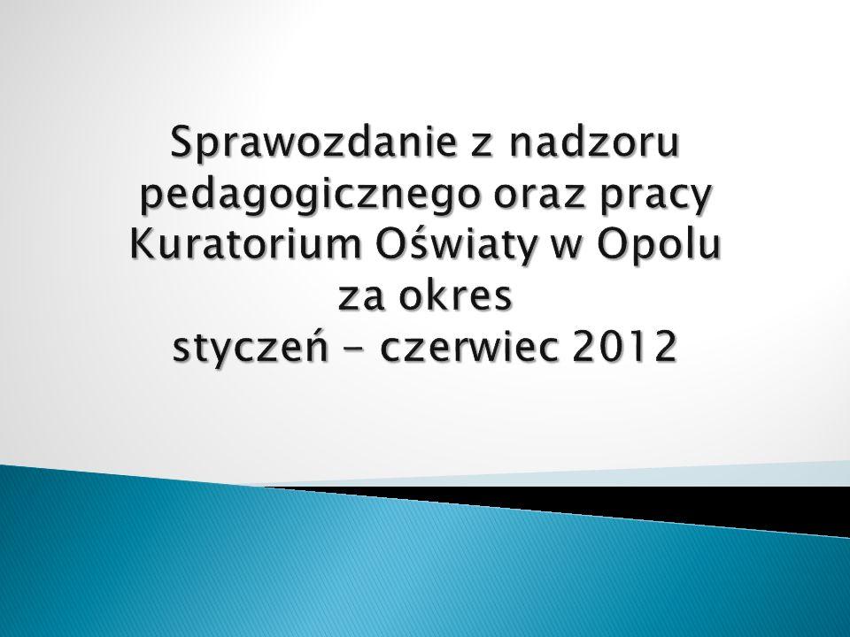 Sprawozdanie z nadzoru pedagogicznego oraz pracy Kuratorium Oświaty w Opolu za okres styczeń - czerwiec 2012