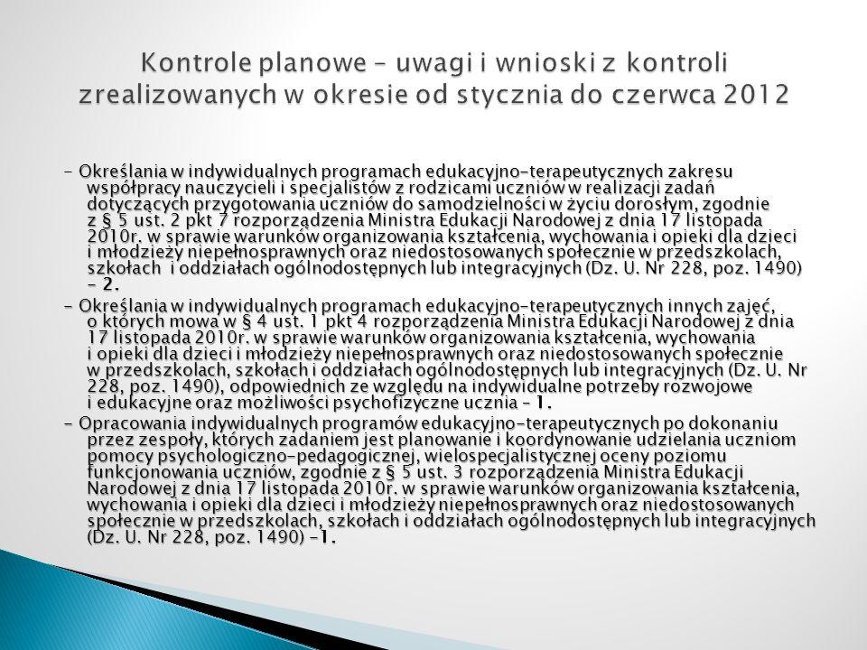 Kontrole planowe – uwagi i wnioski z kontroli zrealizowanych w okresie od stycznia do czerwca 2012