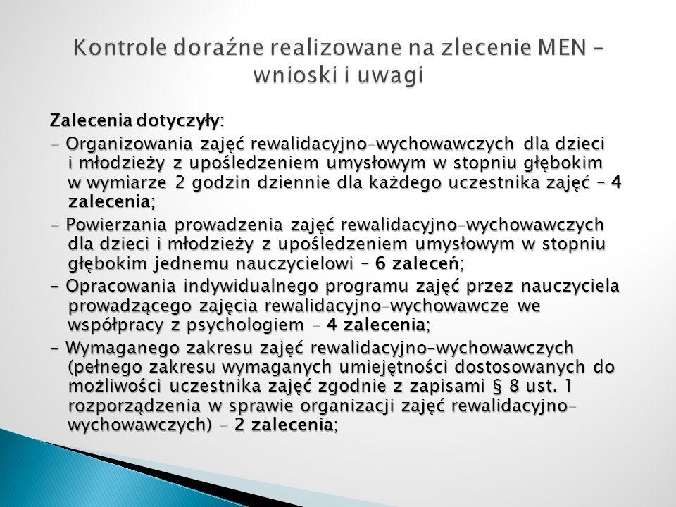 Kontrole doraźne realizowane na zlecenie MEN – wnioski i uwagi