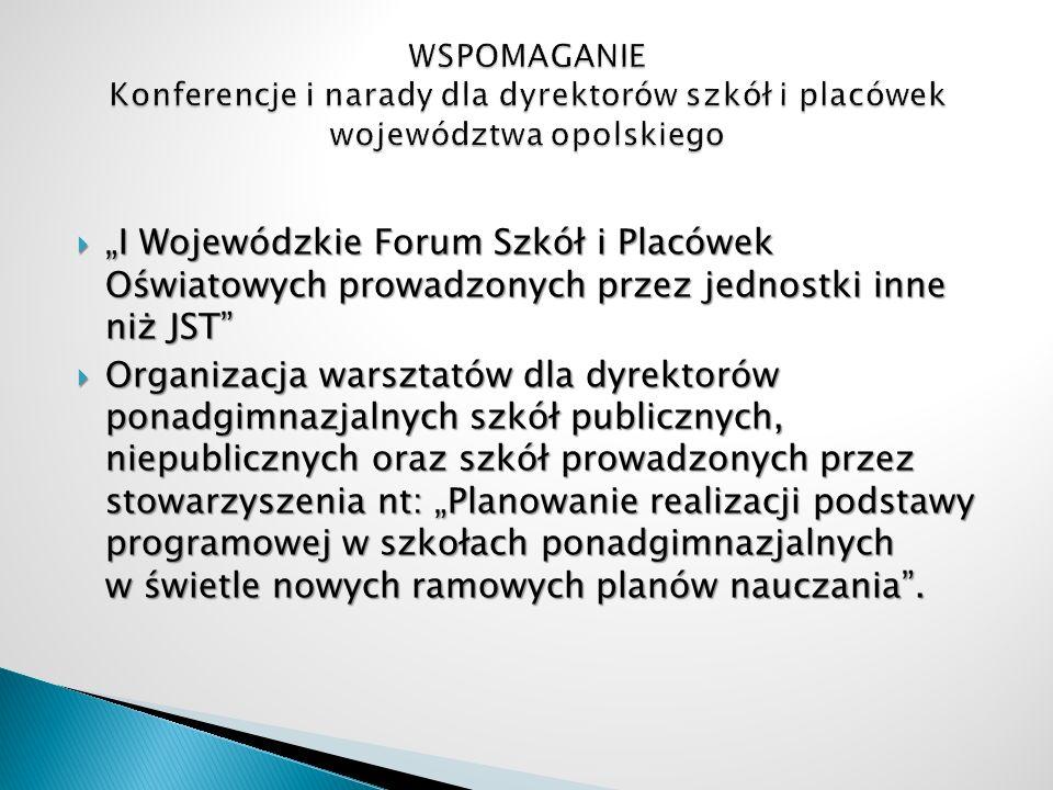 WSPOMAGANIE Konferencje i narady dla dyrektorów szkół i placówek województwa opolskiego