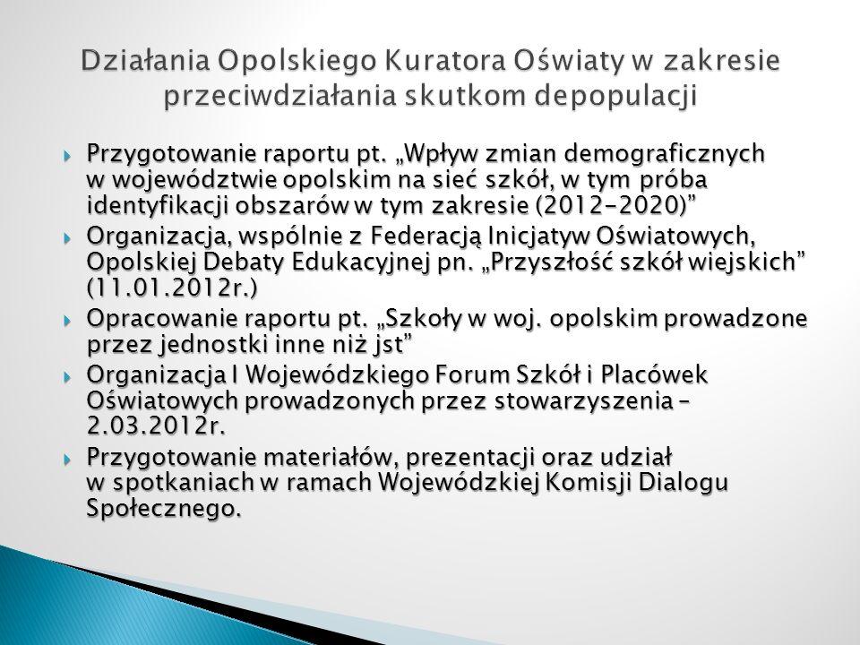 Działania Opolskiego Kuratora Oświaty w zakresie przeciwdziałania skutkom depopulacji