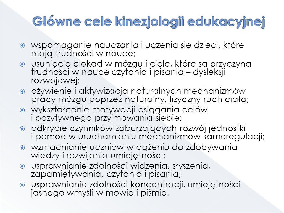 Główne cele kinezjologii edukacyjnej