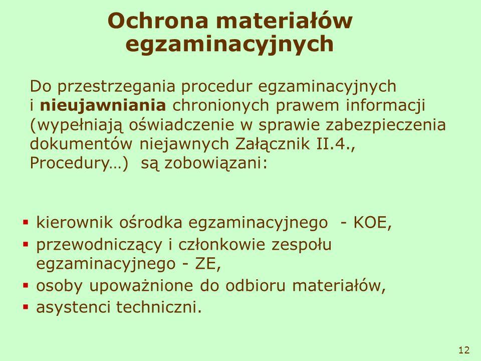 Ochrona materiałów egzaminacyjnych