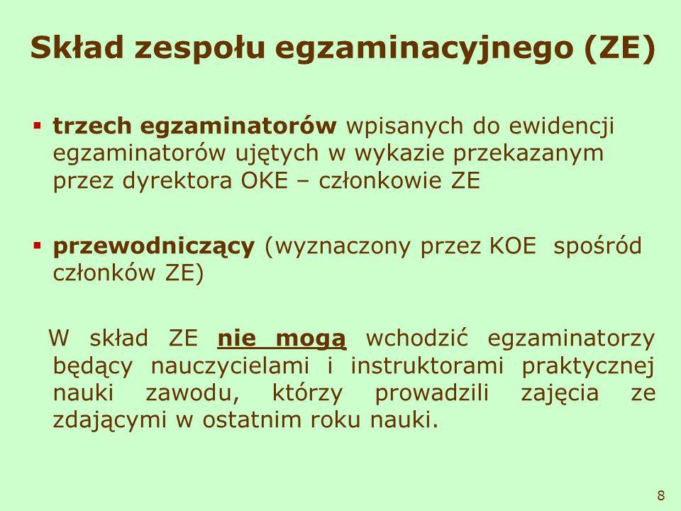 Skład zespołu egzaminacyjnego (ZE)
