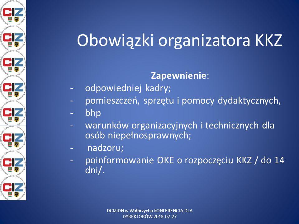 Obowiązki organizatora KKZ