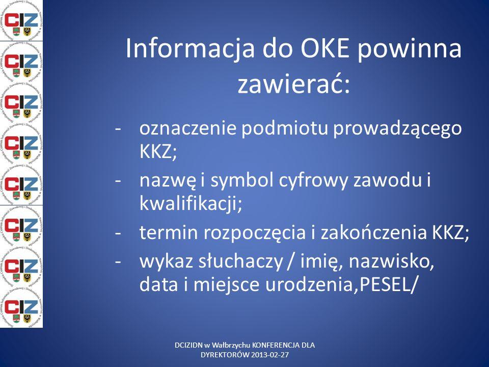 Informacja do OKE powinna zawierać: