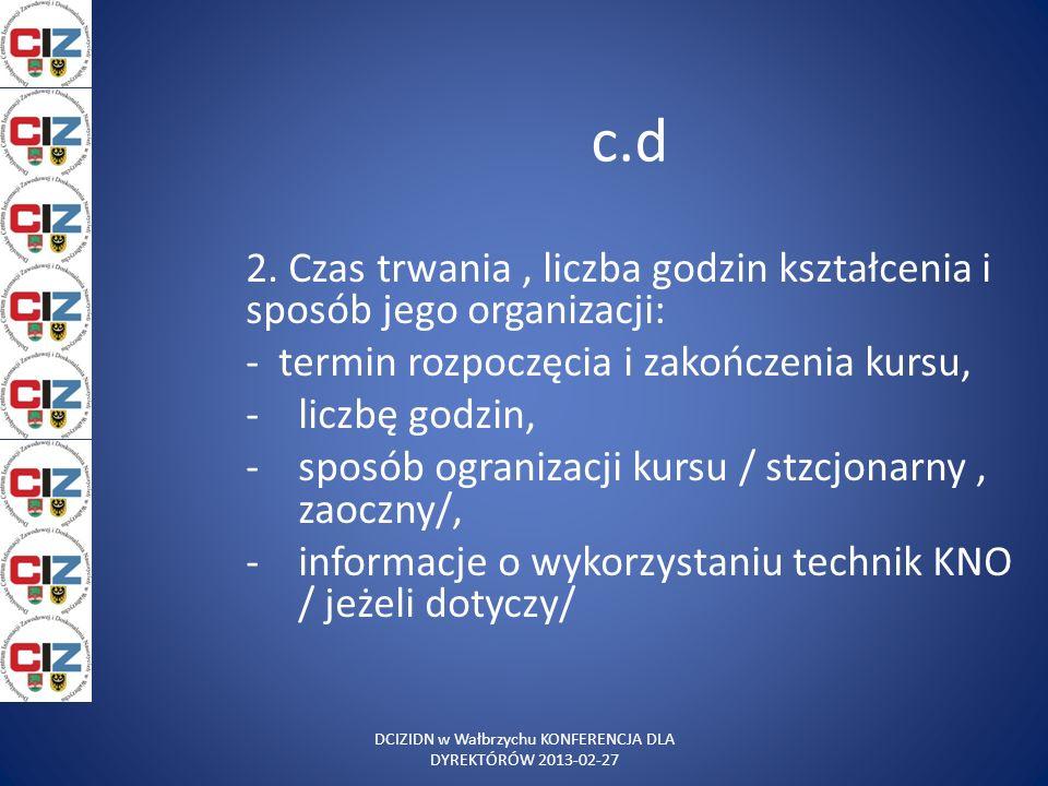 DCIZIDN w Wałbrzychu KONFERENCJA DLA DYREKTÓRÓW 2013-02-27