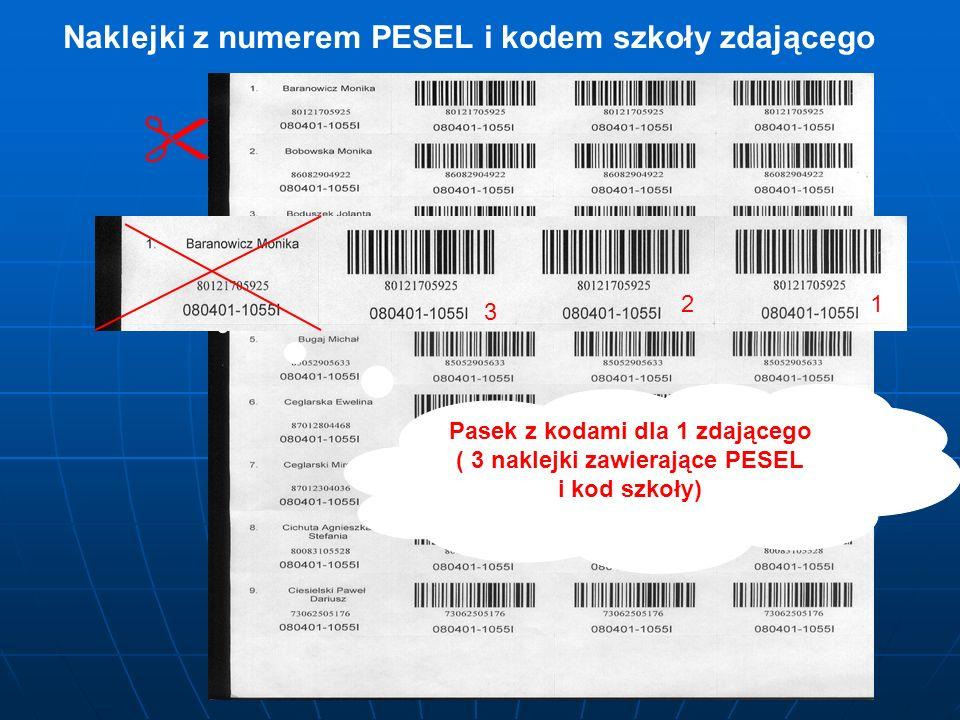 Naklejki z numerem PESEL i kodem szkoły zdającego