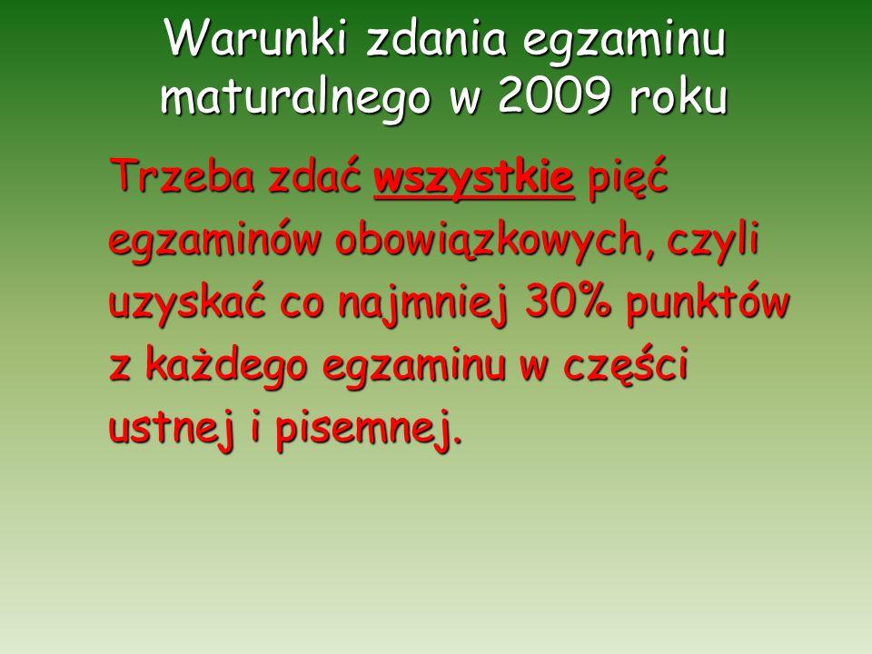 Warunki zdania egzaminu maturalnego w 2009 roku