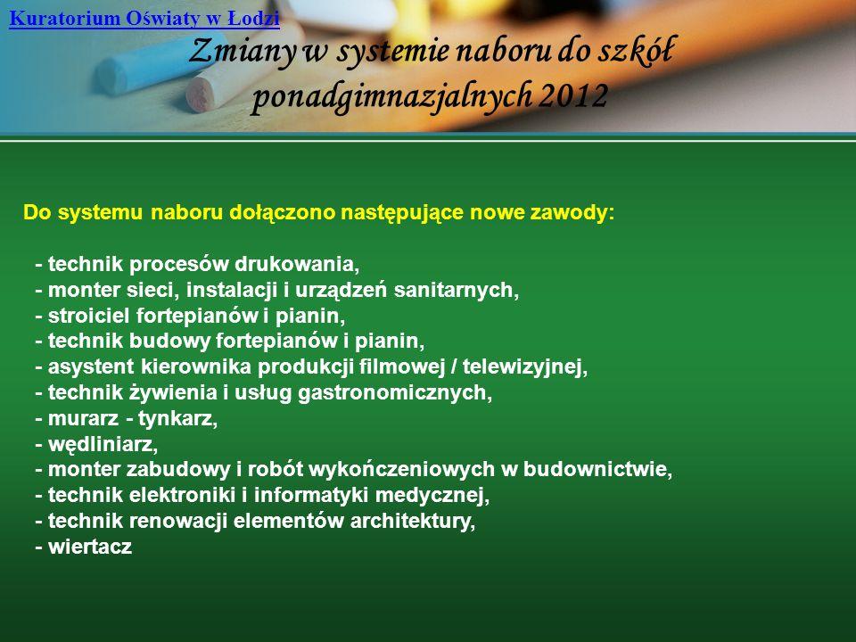 Zmiany w systemie naboru do szkół ponadgimnazjalnych 2012