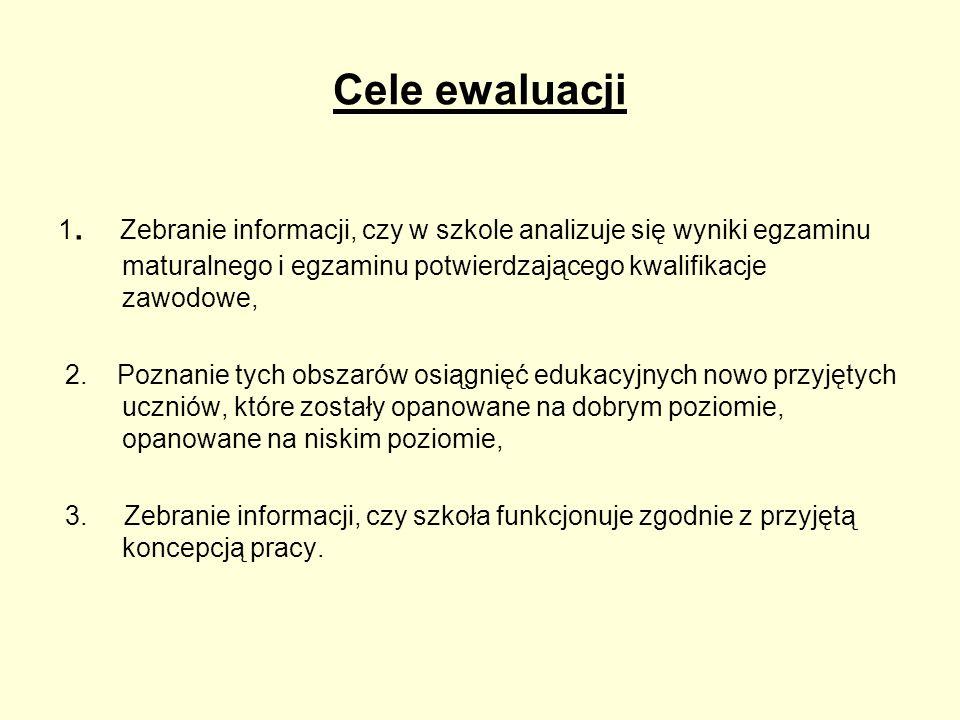 Cele ewaluacji 1. Zebranie informacji, czy w szkole analizuje się wyniki egzaminu maturalnego i egzaminu potwierdzającego kwalifikacje zawodowe,