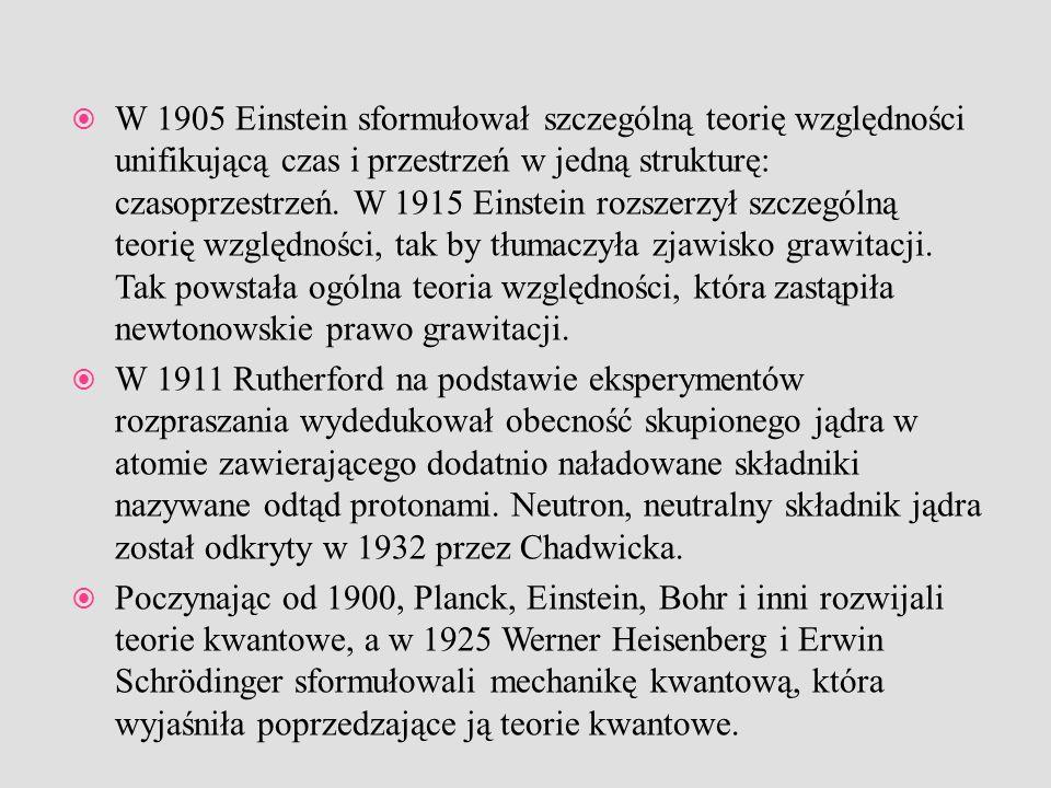W 1905 Einstein sformułował szczególną teorię względności unifikującą czas i przestrzeń w jedną strukturę: czasoprzestrzeń. W 1915 Einstein rozszerzył szczególną teorię względności, tak by tłumaczyła zjawisko grawitacji. Tak powstała ogólna teoria względności, która zastąpiła newtonowskie prawo grawitacji.