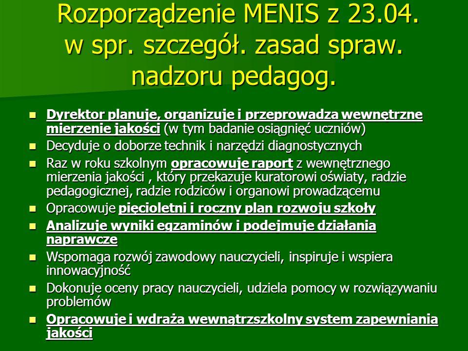 Rozporządzenie MENIS z 23. 04. w spr. szczegół. zasad spraw