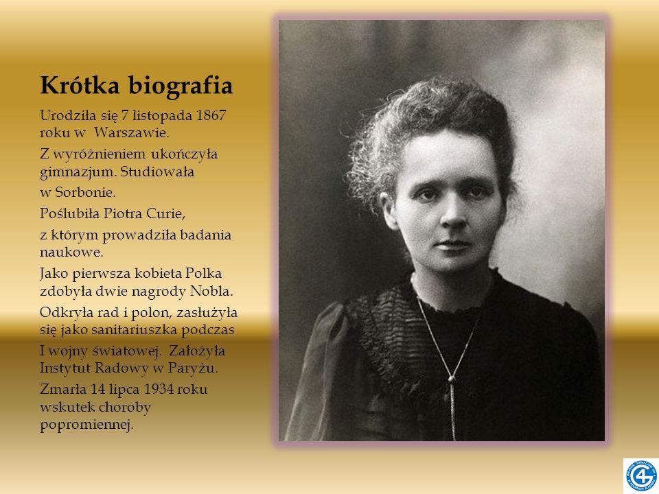 Krótka biografia Urodziła się 7 listopada 1867 roku w Warszawie.