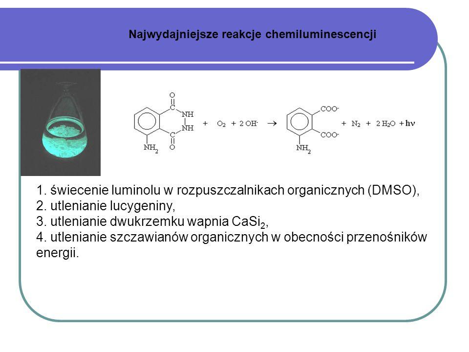 1. świecenie luminolu w rozpuszczalnikach organicznych (DMSO),