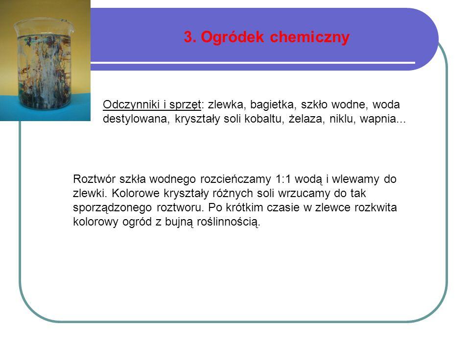 3. Ogródek chemiczny Odczynniki i sprzęt: zlewka, bagietka, szkło wodne, woda destylowana, kryształy soli kobaltu, żelaza, niklu, wapnia...