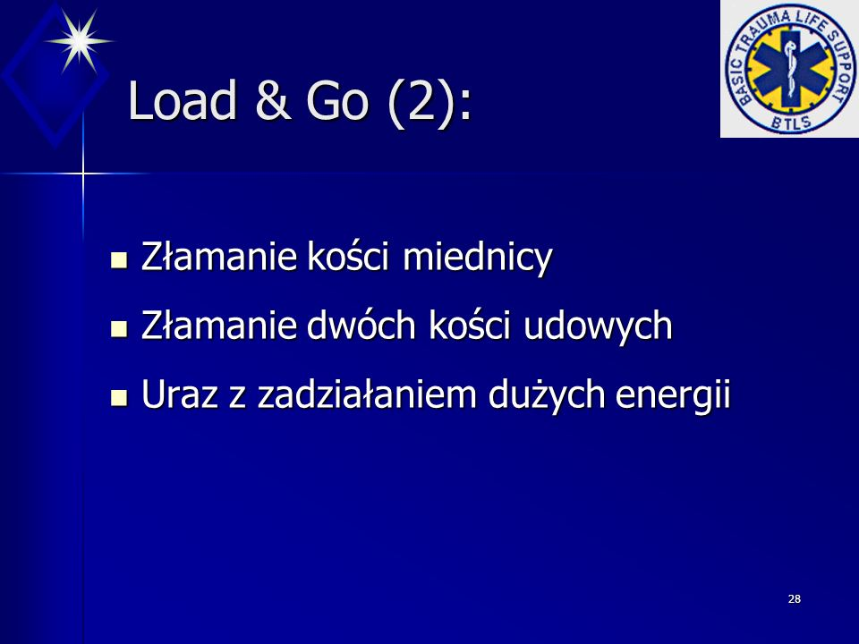 Load & Go (2): Złamanie kości miednicy Złamanie dwóch kości udowych