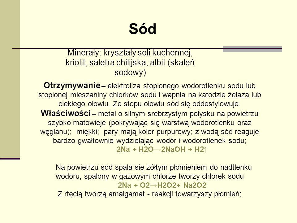 Sód Minerały: kryształy soli kuchennej, kriolit, saletra chilijska, albit (skaleń sodowy)