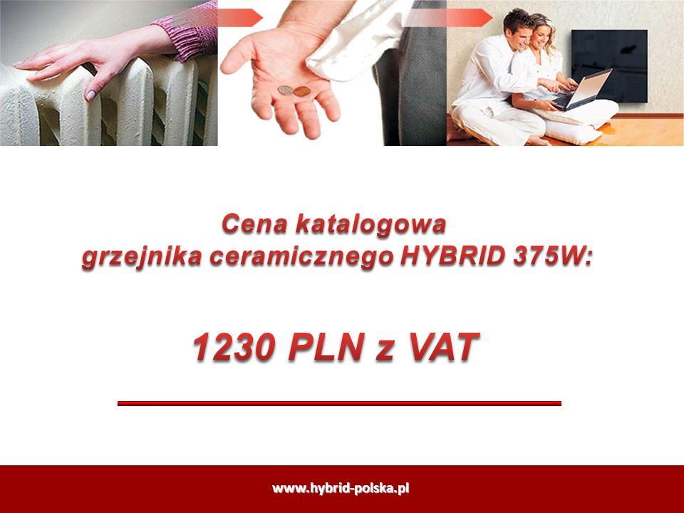 grzejnika ceramicznego HYBRID 375W: